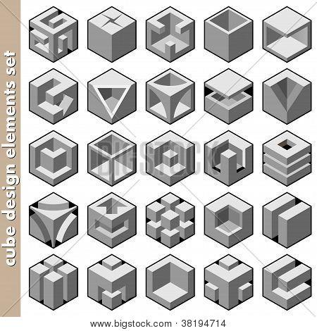 3d cube set vector illustration