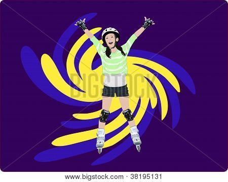 Joyful Young Girl on Roller Blades