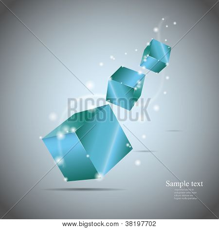 Abstract Cubes With Glow Eps10 Vector Illustration