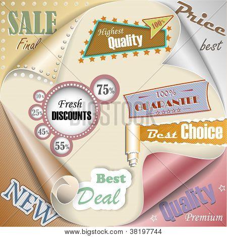 Retro y Vintage papel venta elementos Eps10 Vector Illustration
