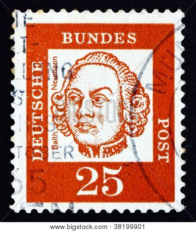 Postage stamp Germany 1961 Johann Balthasar Neumann, German Baroque Architect