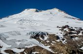 stock photo of crevasse  - Mountain volcano wth glacer and crevasses taken in the summer - JPG