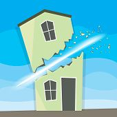 stock photo of slash  - Vector illustration of a house slashed and split in two - JPG