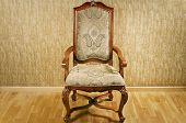picture of anteroom  - Single Old Antique Chair Near The Wall - JPG