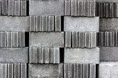 stock photo of cinder block  - Stack of cement blocks at the construction site - JPG