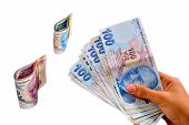 picture of turkish lira  - hundred and two hundred Turkish Lira white background - JPG