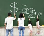 stock photo of girl toy  - family drawing money house clothes and video game symbol on the chalkboard - JPG