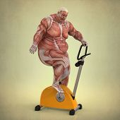 foto of pompous  - anatomy fat man playing sports with beige background - JPG
