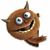 pic of bigfoot  - 3d cartoon cute brown furry alien monster - JPG