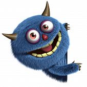 image of bigfoot  - 3 d cartoon cute blue furry alien - JPG