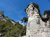 stock photo of underthings  - Rock underthe blue sky in the Calanques in the Provence - JPG