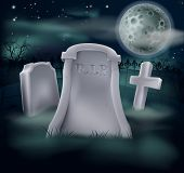 image of tombstone  - A spooky grave with RIP written on it and copy space below if you would like to add text - JPG