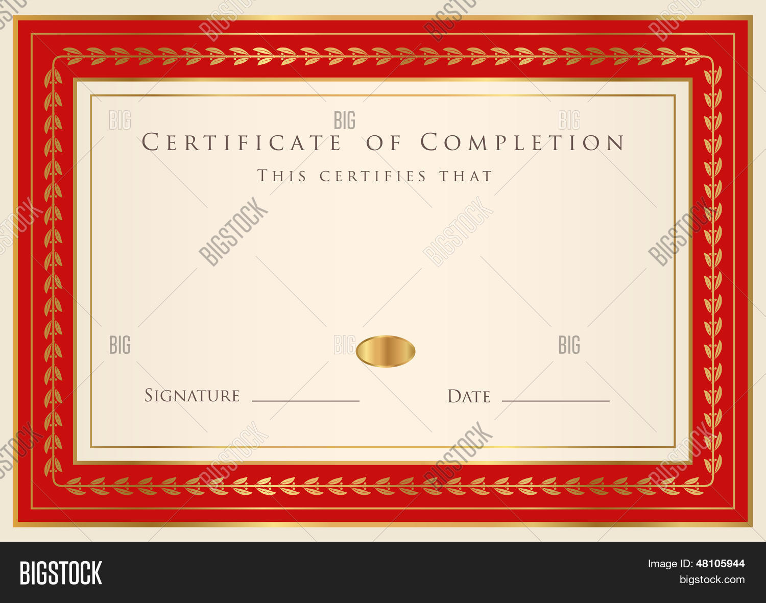 Blue Certificate of completion template or sample background – Certificate of Completion Sample