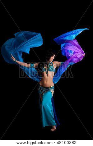 Bellydancer With Flowing Blue Veil