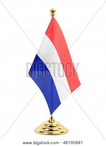 Netherlands National Flag Hanging On The Gold Flagstaff
