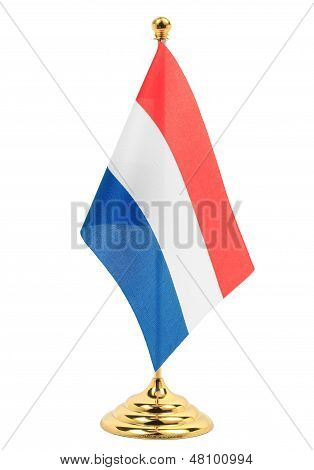 Luxembourg National Flag Hanging On The Gold Flagstaff,isolated On The White Background