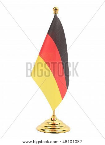 Germany Flag Hanging On The Golden Flagstaff