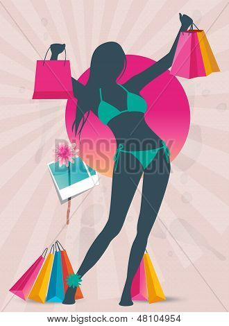 Summer shopping sale banner with fashion girl silhouette
