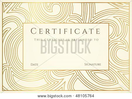 Certificate, Diploma of completion (template) with golden floral pattern (swirl, scroll)