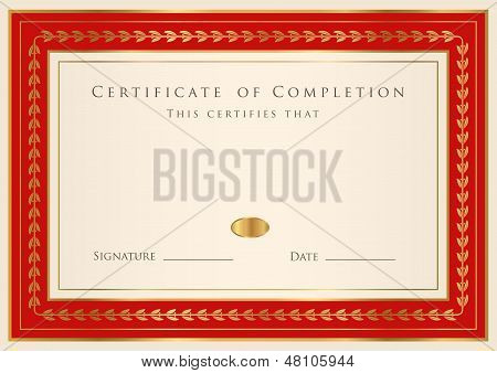 Blue Certificate of completion (template or sample background) with golden floral pattern, border