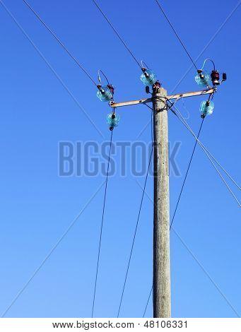 Powerline on wooden pillar