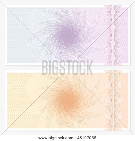 Voucher (Gift certificate / Coupon) template with guilloche pattern (watermarks), border. Banknote