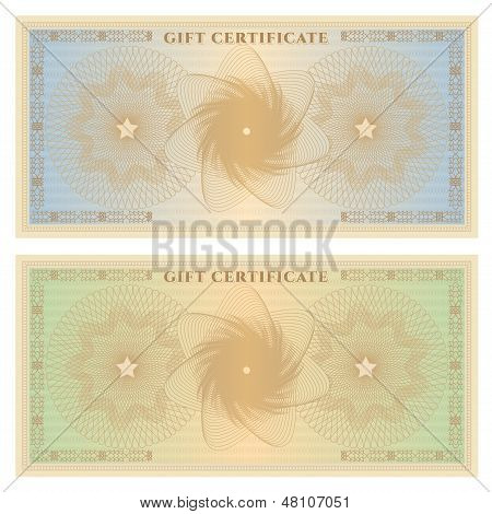 Gift certificate (voucher / coupon) template (banknote, money, currency, cheque, check)