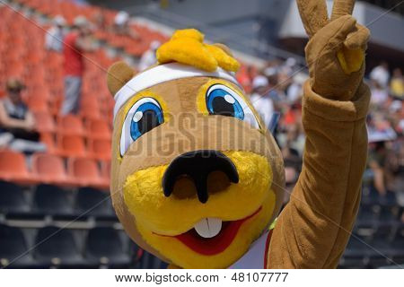 DONETSK, UKRAINE - JULY 13: The gopher named Ostap is the mascot of World Youth Championships in Donetsk, Ukraine on July 13, 2013