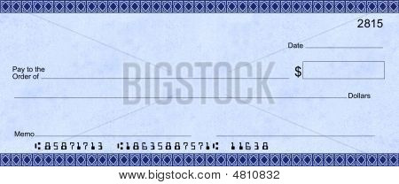 Blank Check Blue Deco