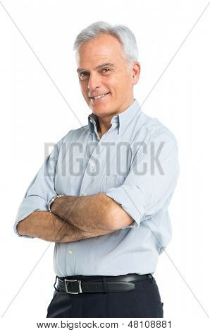 Happy Mature Man With Hands Folded Isolated On White Background