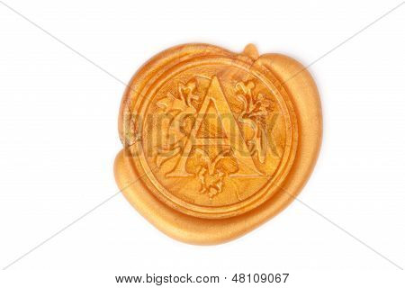 Gold Wax Seal Isolated On White