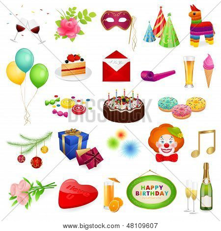 Colorful set: Holidays. Isolated detailed vector illustrations for holidays (Christmas, birthday)