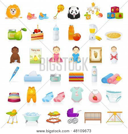 Vector set: Baby icons (newborn). Isolated on white background baby stuff (clothes, food, toys)