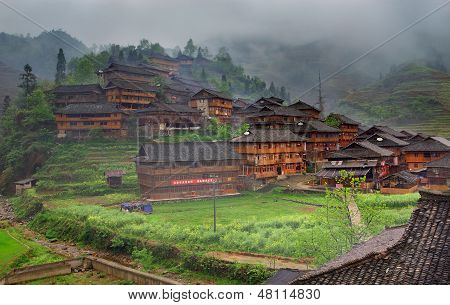 Yao Minoritys Home,  Dazhai, Near Longsheng, Guangxi, China. Guangxi Province, China - April 3, 2010
