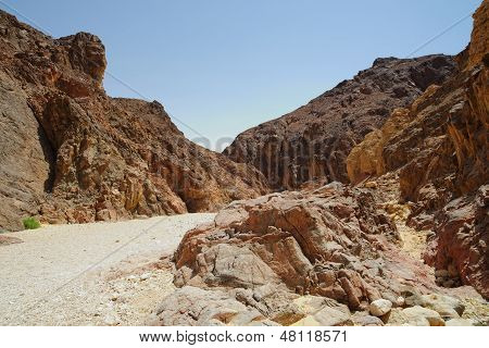 Path in scenic desert canyon Israel