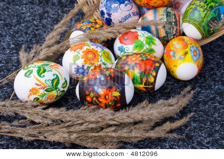 Easter Eggs And Sprig Of Reed