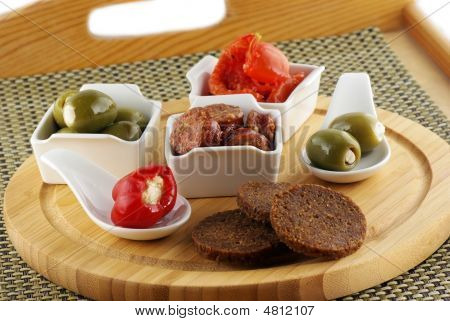 Platter With Tapas, Olives, Pepper,sausages & Tomatoes