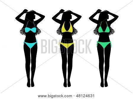Young Woman In Two-pieces Swimsuit Taking Sunbath Silhouettes Set