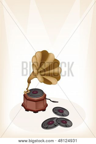 A Beautiful Vintage Gramophone On Brown Stage Background