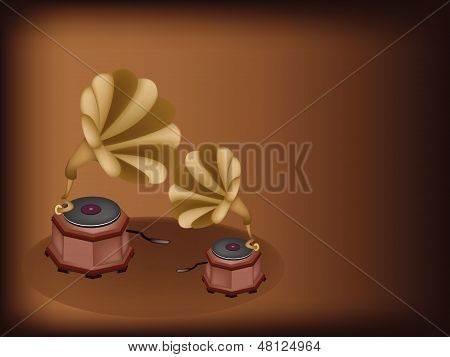 Two Beautiful Vintage Gramophone On Dark Brown Background