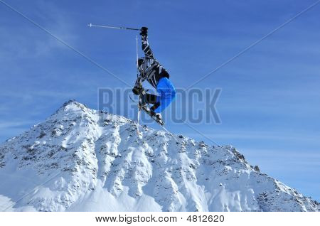 Skier Performing A High Jump