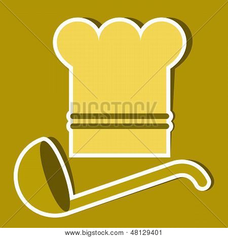 Chef`s Hat And Ladle. Vector Kitchen Symbols