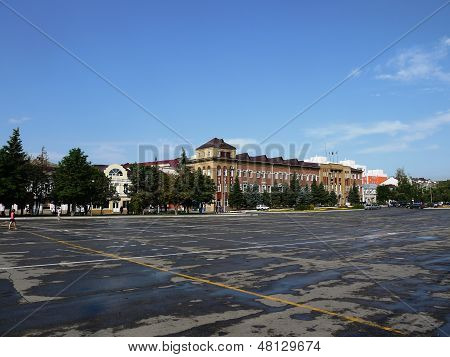 ENGELS, SARATOV REGION , RUSSIA- JULY 2013 Central square  of the city after a rain 09.07.2013