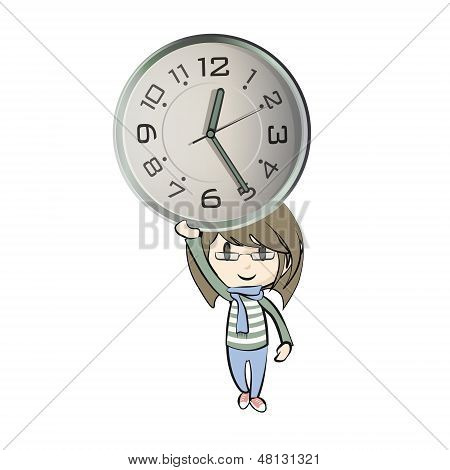 Girl Holding A Vice Watch On Isolated White Background. Vector Design.