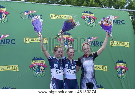 Women Winners Podium At Stillwater Criterium