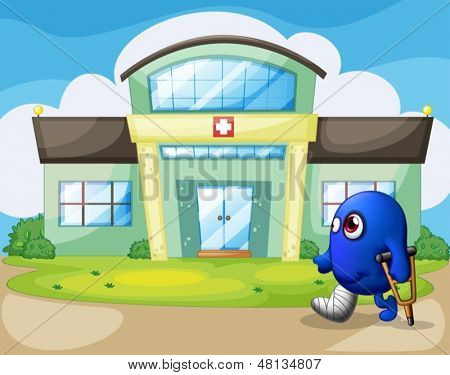 Illustration of a disabled monster outside the hospital