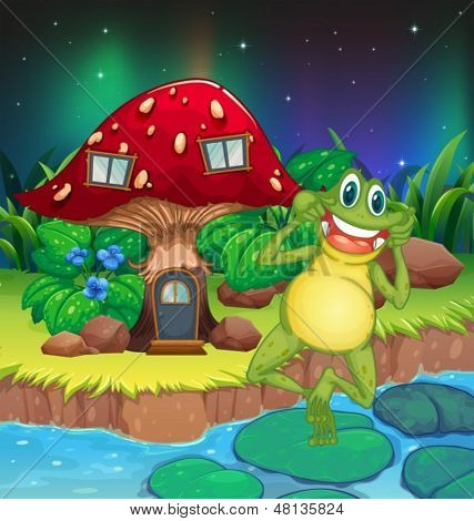 Illustration of an annoying frog near the red mushroom house