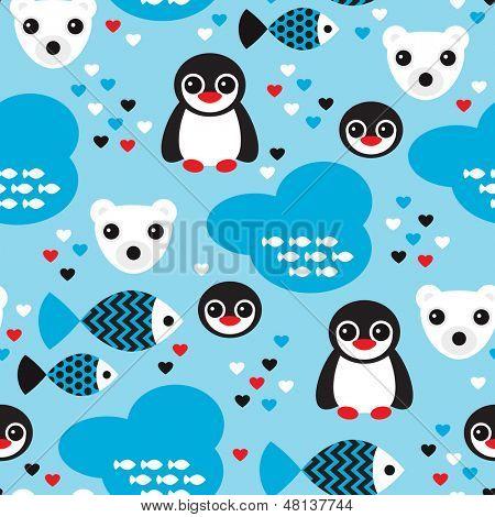 Nahtlose Winter Wunderland Pinguin Fisch und Eisbär Abbildung Hintergrundmuster in Vektor