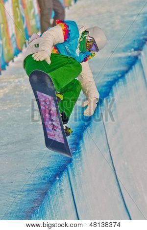 KUEHTAI, AUSTRIA - JANUARY 14 Jan  Kralj (Slovenia) places 6th in men's halfpipe event on January 14, 2012 in Kuehtai, Austria.