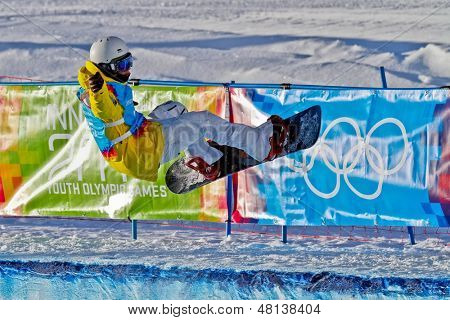 KUEHTAI, AUSTRIA - JANUARY 14 Ludvig Billtoft (Sweden) competes in the men's halfpipe event on January 14, 2012 in Kuehtai, Austria.